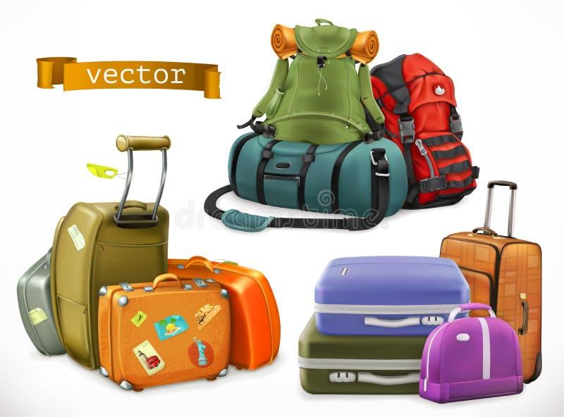 旅行 袋子,背包,手提箱 皇族释放例证