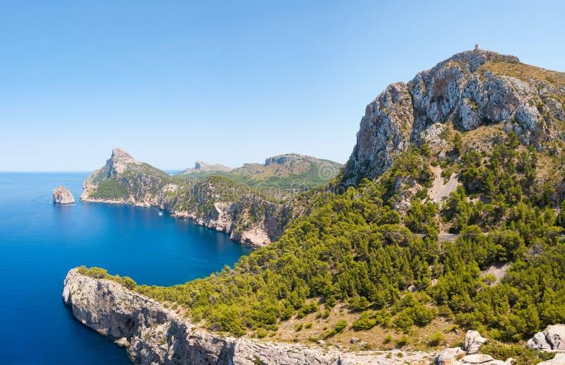 旅行Cap de Formentor在马略卡,西班牙 免版税图库摄影