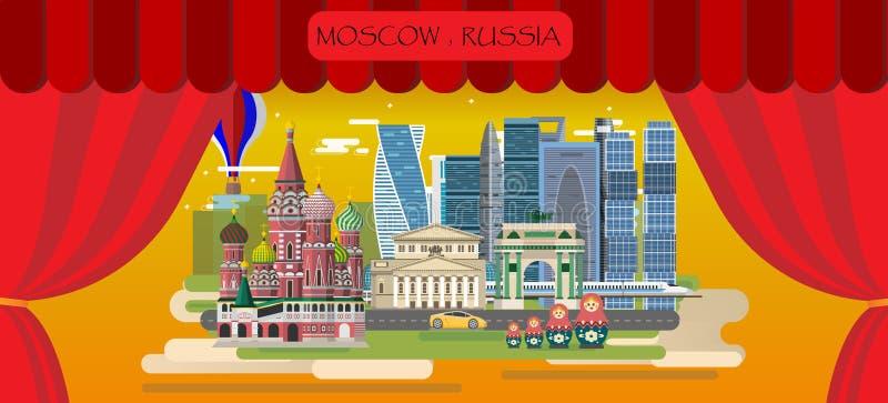 旅行Infographic 俄罗斯的莫斯科infographic旅游视域, 库存例证