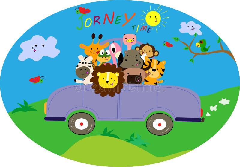 旅途乘汽车 逗人喜爱的小的动物有一次好的旅行 库存例证