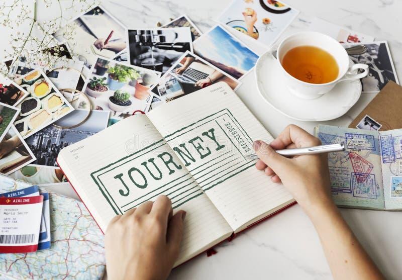 旅途目的地探索假期图表概念 免版税库存照片
