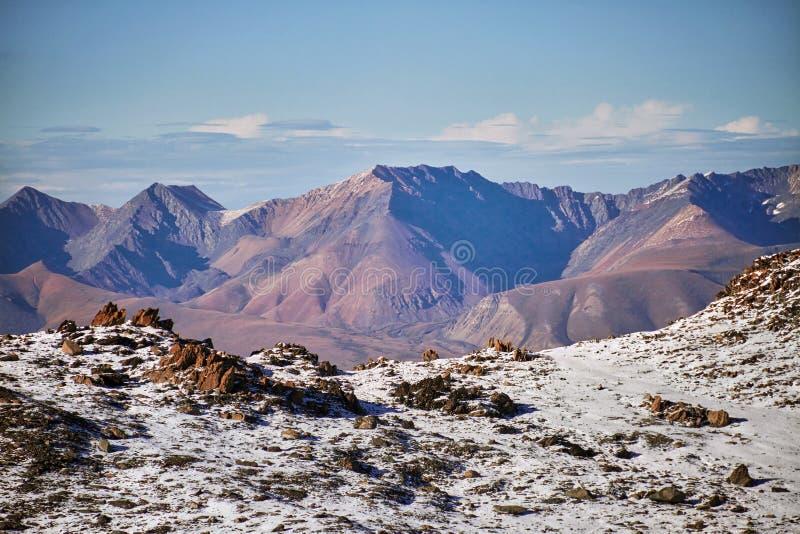 旅途通过对Aktru的阿尔泰山 远足对阿尔泰山多雪的山峰  在苛刻的情况的生存,美好的自然 免版税库存图片