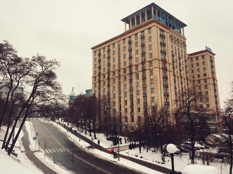 旅馆乌克兰,独立广场 免版税库存照片