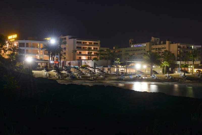 旅馆亚当斯海滩夜 ayia早餐塞浦路斯旅馆napa seaview 库存图片