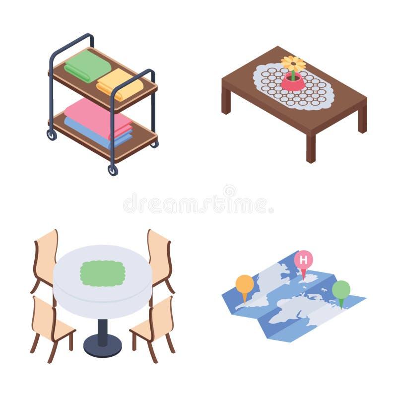 旅馆休息室和房间服务等量象包装 向量例证
