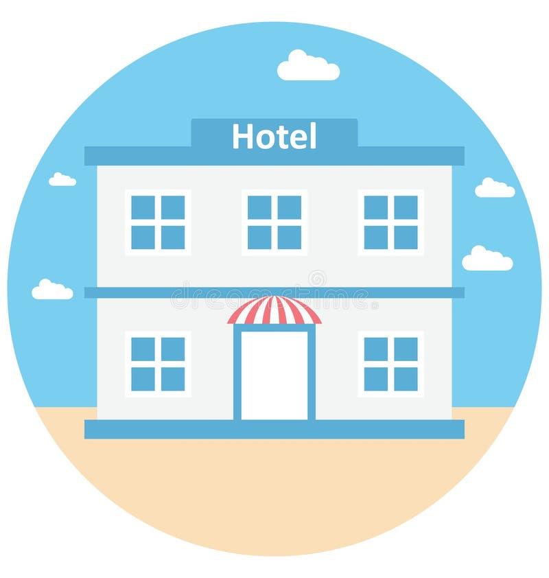旅馆例证颜色传染媒介休闲、旅行和游览的被隔绝的象容易的编辑可能和特别用途 库存例证