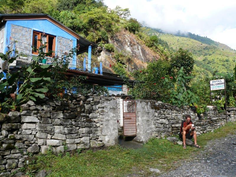 旅馆卡利市Gandaki在达娜,尼泊尔 库存图片