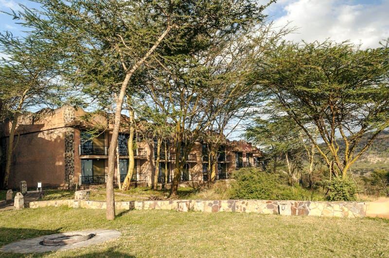 旅馆在有金合欢的坦桑尼亚 免版税库存照片