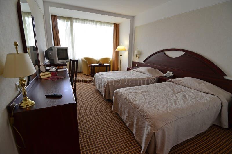 旅馆客房双 免版税库存照片