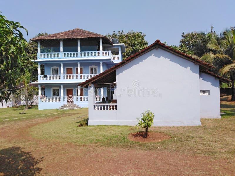 旅馆客舍在果阿,Mandrem Ashvem佩尔内姆路,印度 库存图片