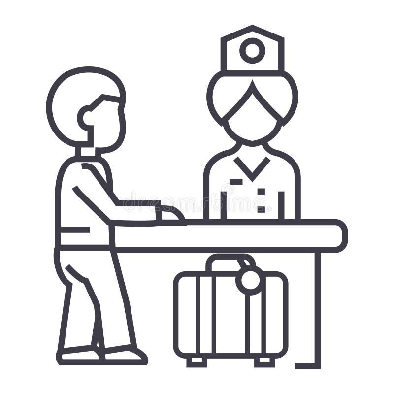 旅馆招待会,桌传染媒介线的象,标志,在背景,编辑可能的冲程的例证接待员 库存例证