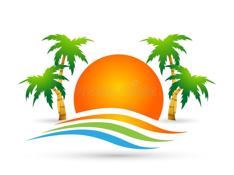 旅馆旅游业太阳假日夏天海滩可可椰子树海波向量商标设计观念在白色背景的标志象 库存例证