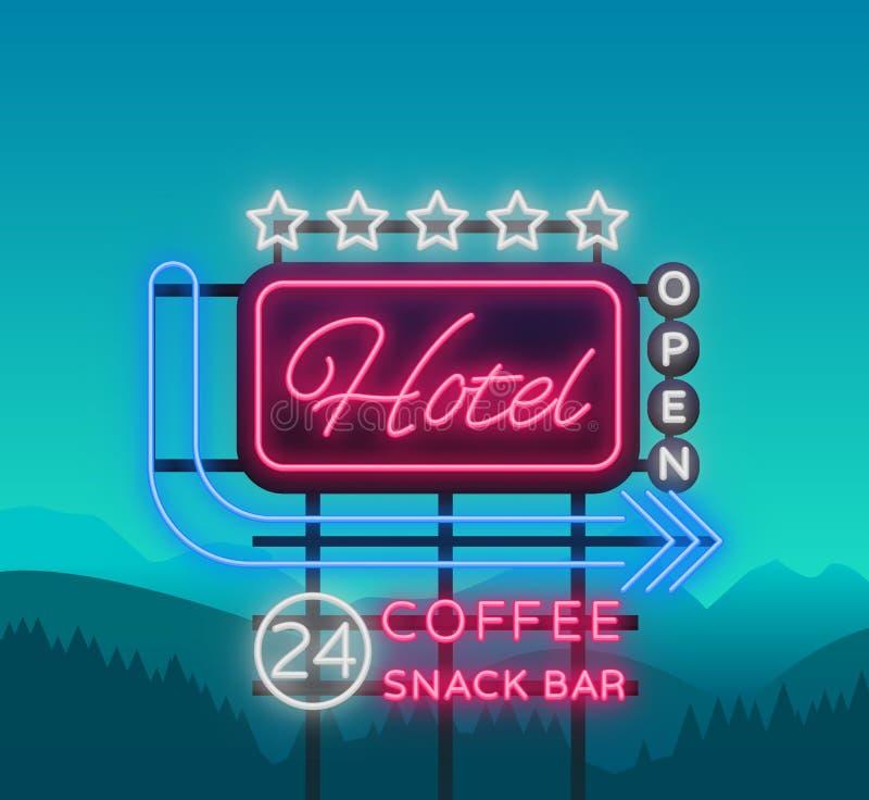 旅馆是一个霓虹灯广告 也corel凹道例证向量 减速火箭的牌,表明旅馆,夜光明亮的氖的广告牌 库存例证