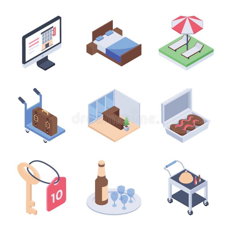 旅馆服务和房间服务等量象包装 库存例证