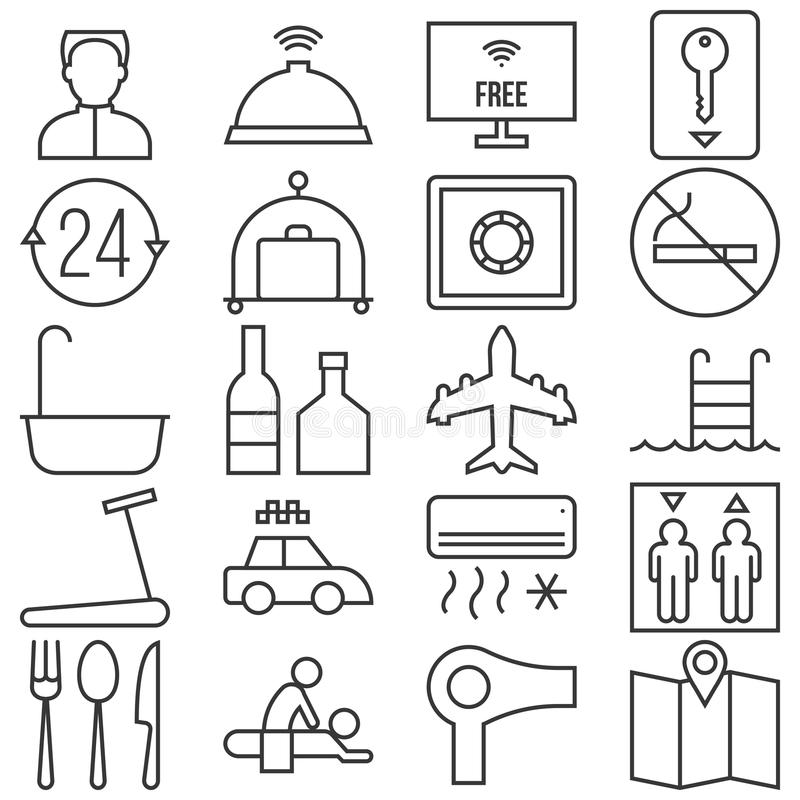 旅馆服务和设施概述象例如从机场,温泉整理 皇族释放例证