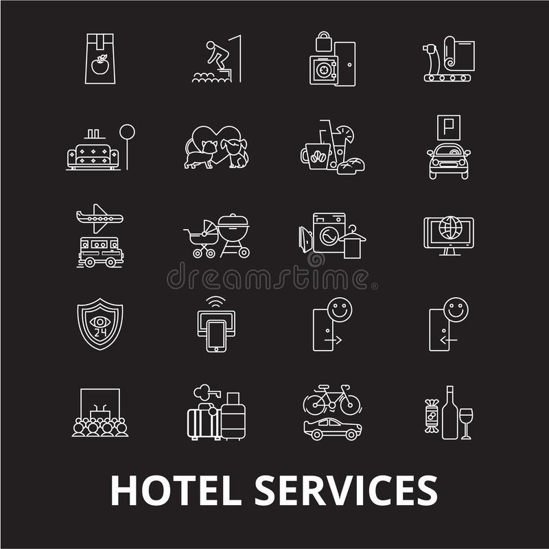 旅馆服务编辑可能的线象导航在黑背景的集合 旅馆服务白色概述例证,标志 库存例证