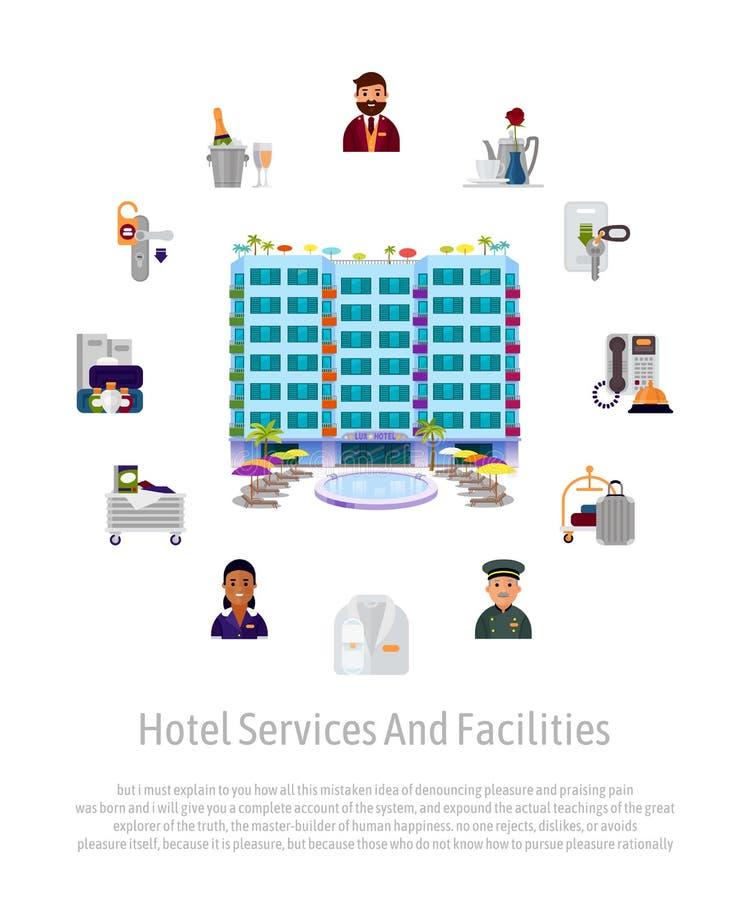 旅馆服务职员设施给横幅做广告为旅馆事务 与管理员的传染媒介例证 库存例证