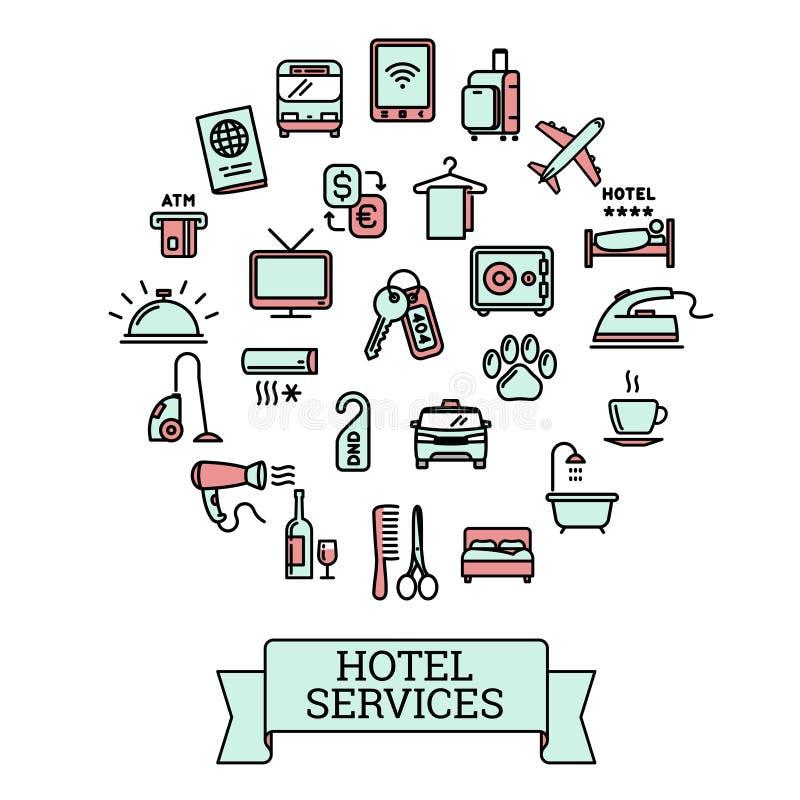旅馆服务-套25个颜色传染媒介概述象 皇族释放例证
