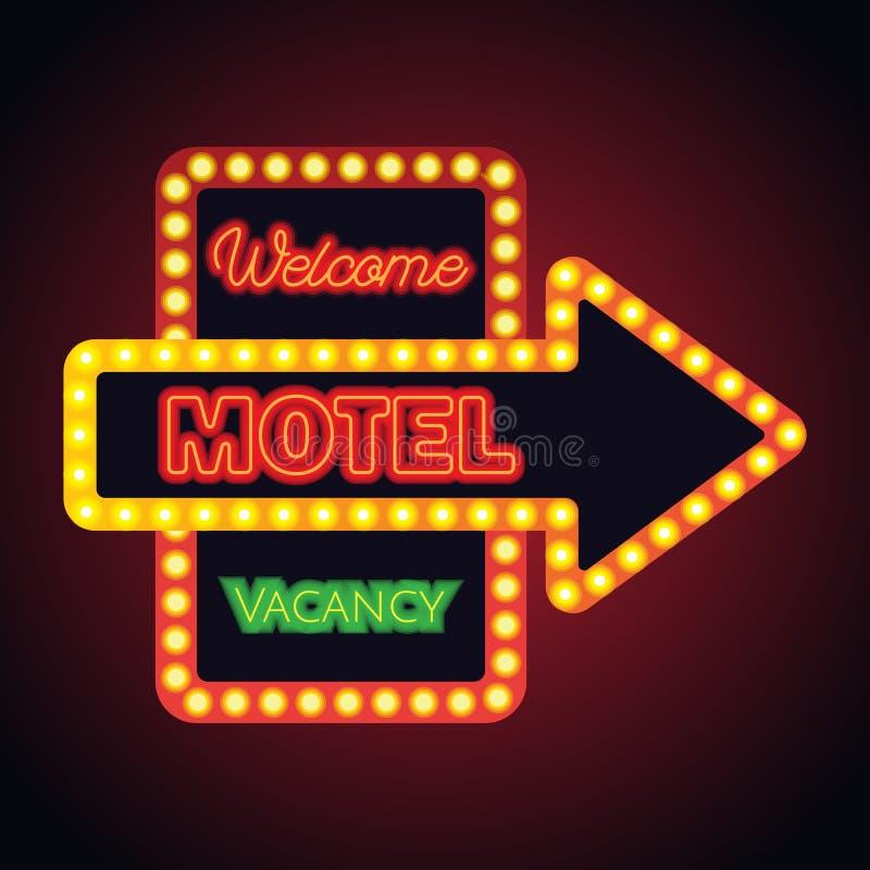旅馆汽车旅馆旅馆事务的霓虹灯广告板条 向量 库存图片