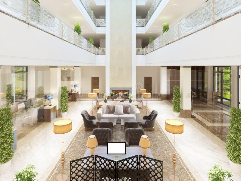 旅馆的豪华室内设计休息室区域 库存例证