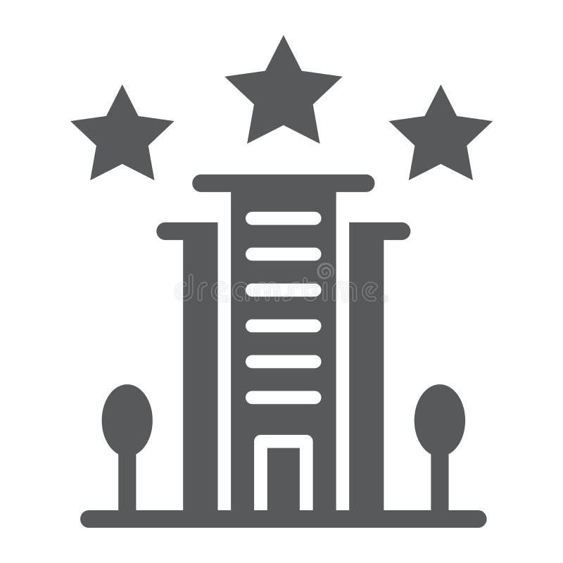 旅馆纵的沟纹象、建筑学和旅游业,大厦标志,向量图形,在白色背景的一个坚实样式 皇族释放例证