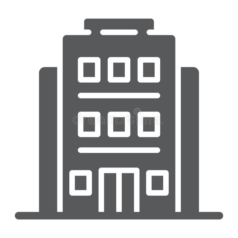 旅馆纵的沟纹象、建筑学和旅行,修造的标志,向量图形,在白色背景的一个坚实样式 向量例证