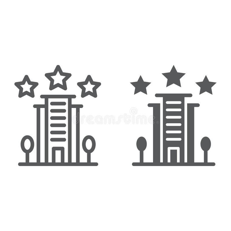 旅馆线和纵的沟纹象、建筑学和旅游业,大厦标志,向量图形,一个线性样式 库存例证