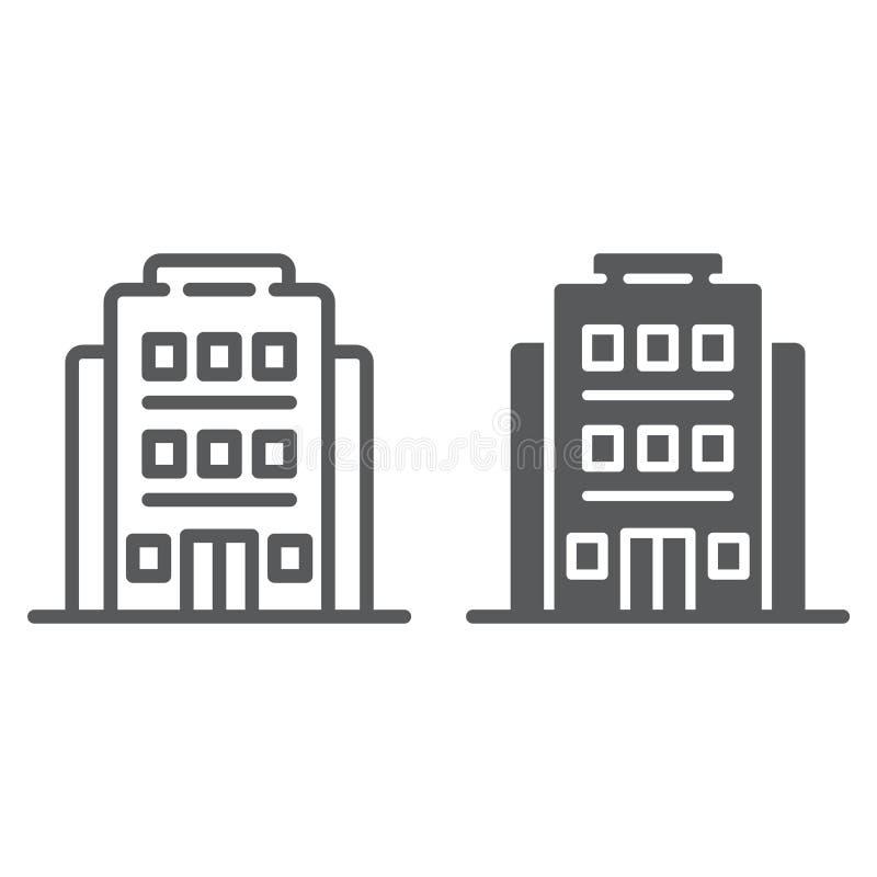 旅馆线和纵的沟纹象、建筑学和旅行,修造的标志,向量图形,在白色的一个线性样式 库存例证