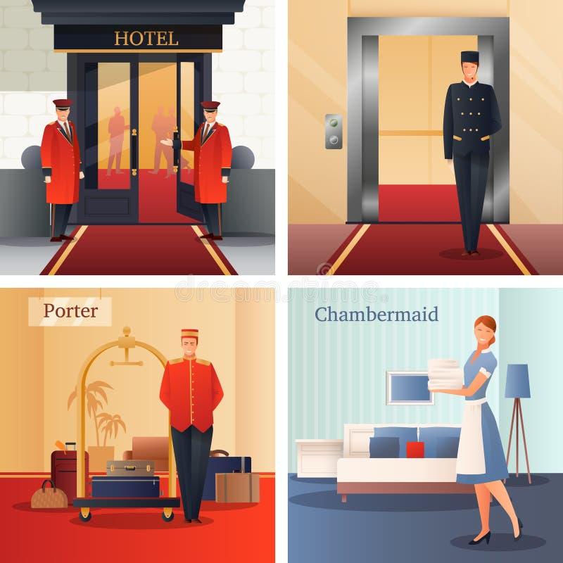 旅馆职员设计观念 向量例证