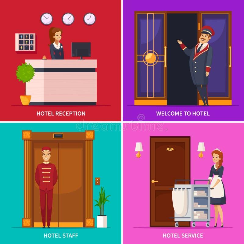旅馆职员2x2设计观念 向量例证