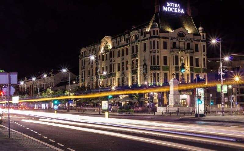 旅馆莫斯科在贝尔格莱德,有汽车的塞尔维亚落后 免版税图库摄影