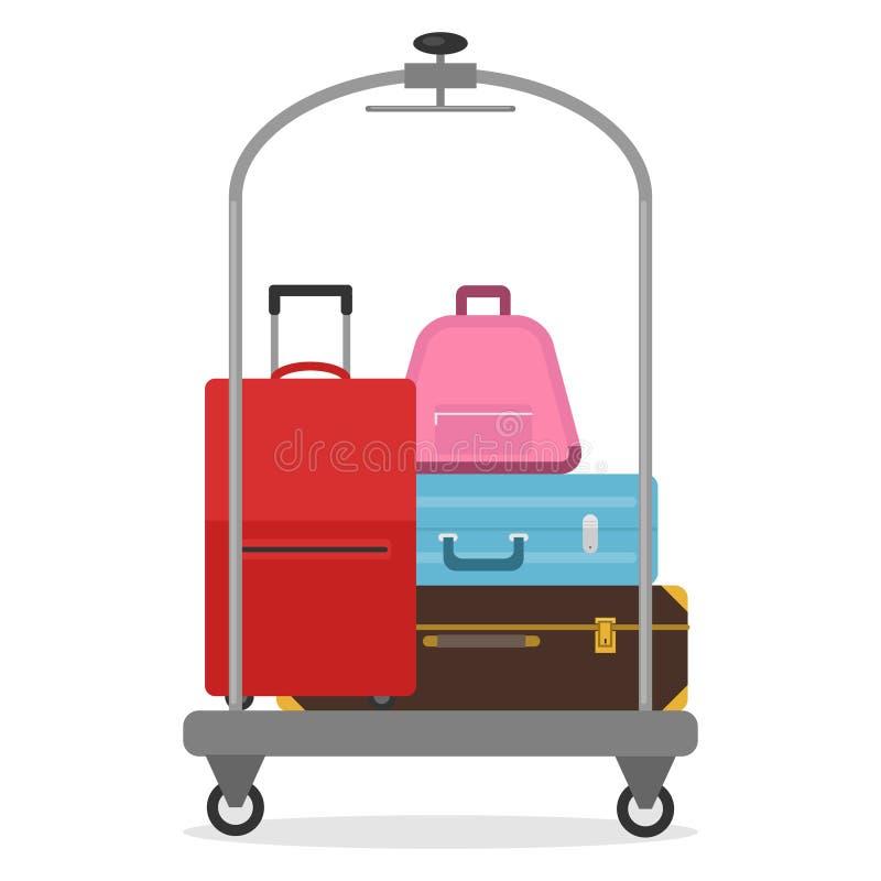 旅馆行李推车 一套在一辆流动台车的手提箱 库存例证