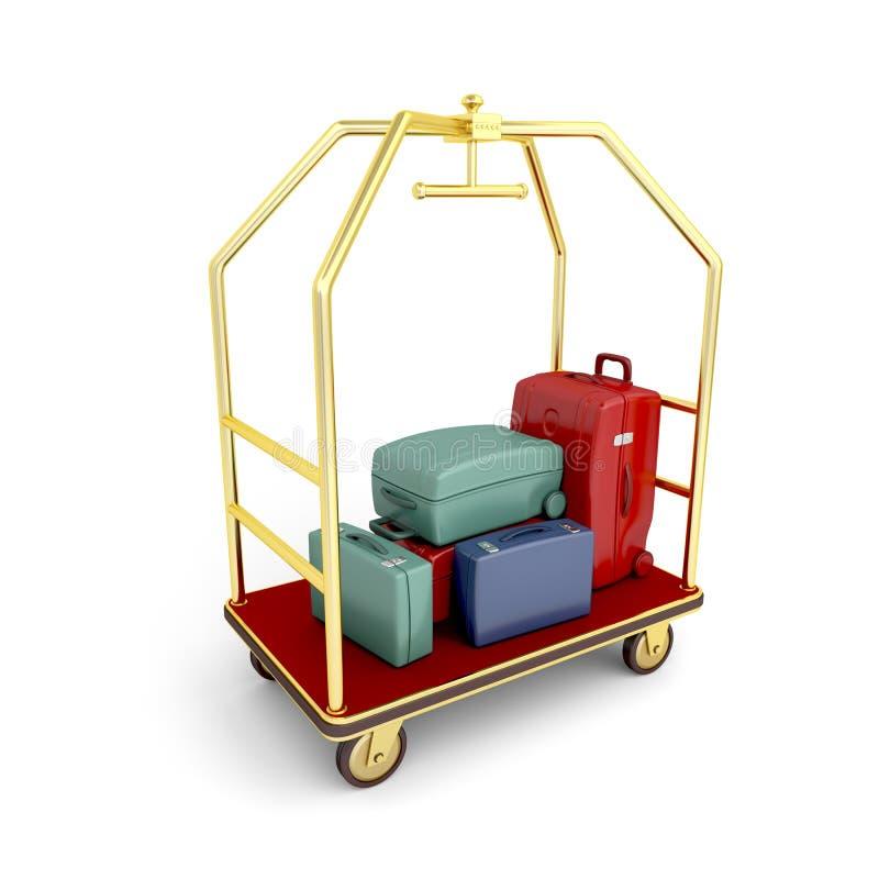 旅馆行李推车 向量例证