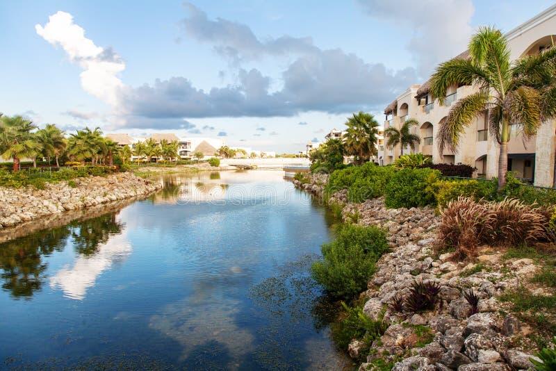 旅馆视图在蓬塔Cana,多米尼加共和国 图库摄影