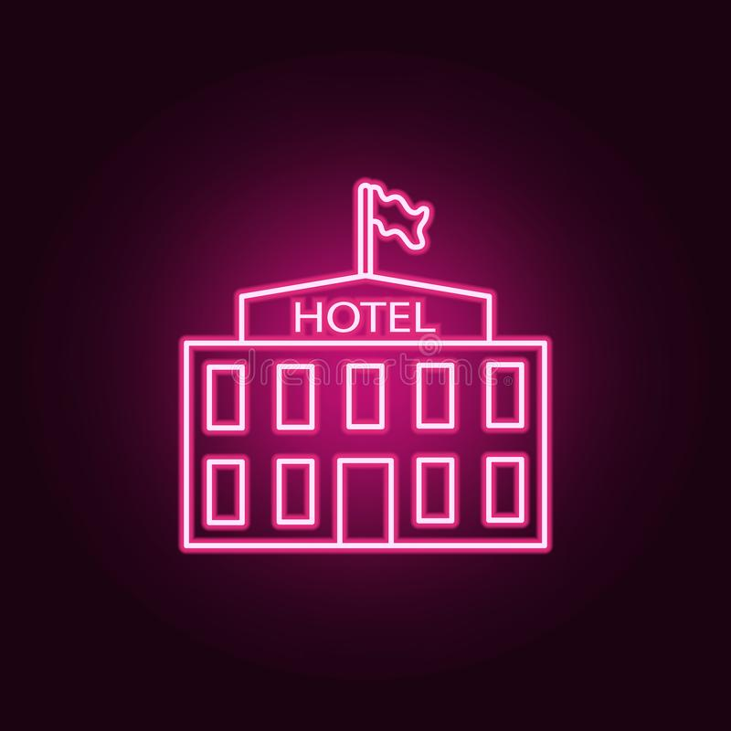 旅馆霓虹象 turizm集合的元素 r 向量例证