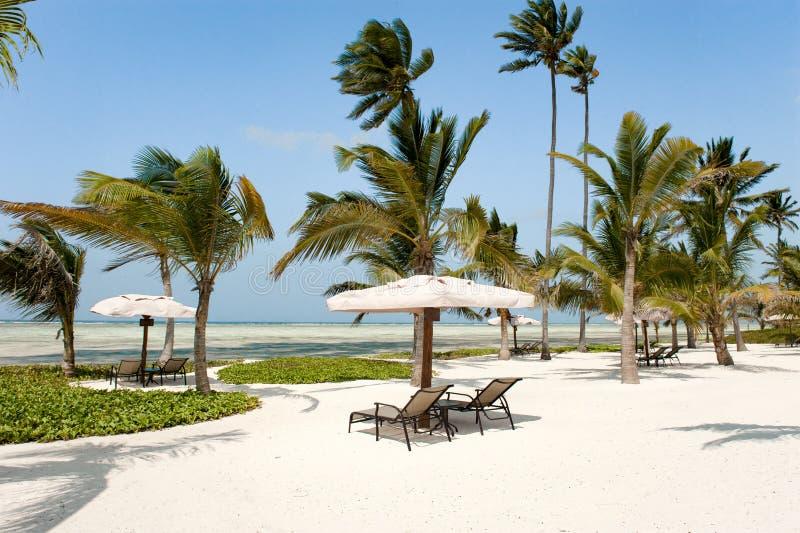 旅馆Baraza手段,桑给巴尔海滩  免版税图库摄影