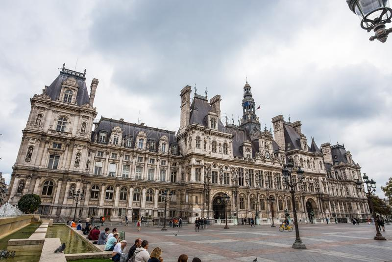 旅馆de韦莱,巴黎,法国政府大厦  这个大厦安置巴黎` s管理城市 免版税库存图片