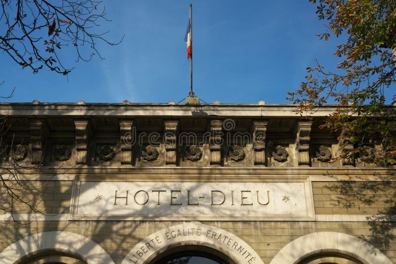 旅馆Dieu门面在巴黎圣母院附近的 旅馆Dieu意味上帝旅舍用法语 免版税库存照片
