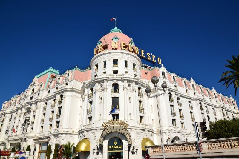 旅馆Negresco,尼斯城市,法国海滨 图库摄影