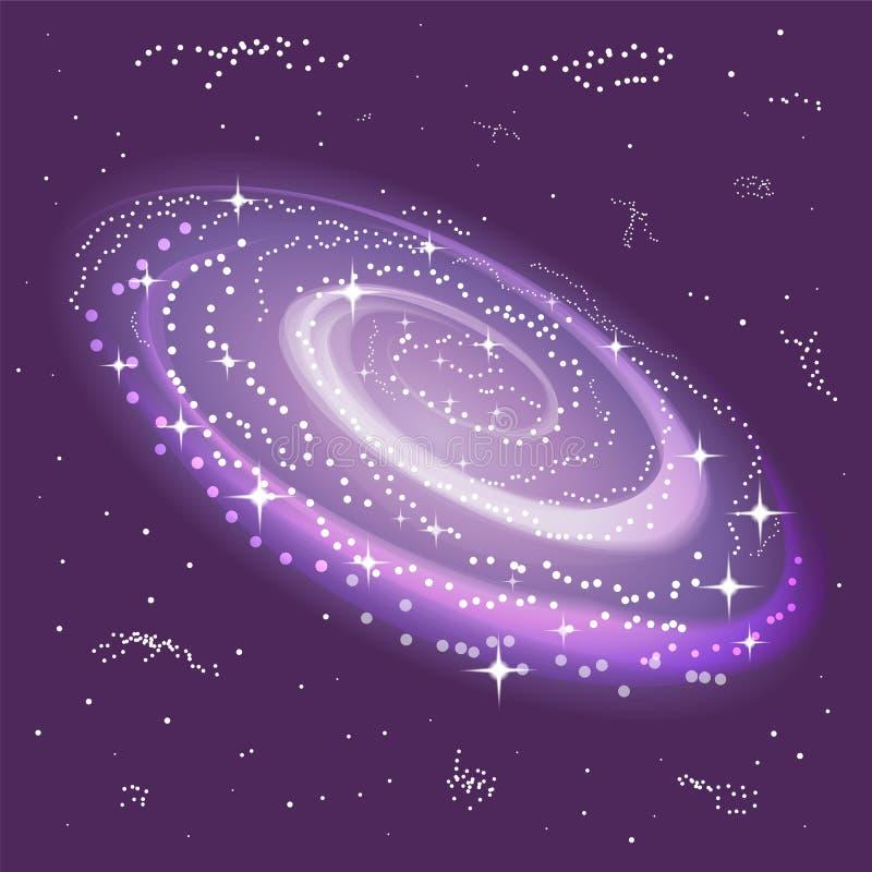 旋涡星云和星 空间背景 宇宙 适用于纺织品,织品,包装和网络设计 向量例证