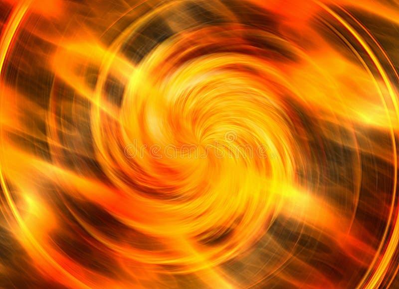 旋转明亮的爆炸闪光的行动在火背景的 皇族释放例证