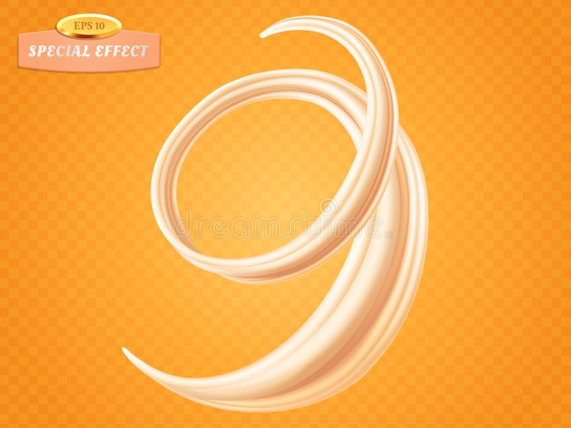 旋转液体奶油或牛奶在橙色背景 传染媒介特别流程作用 成套设计元素为 库存例证
