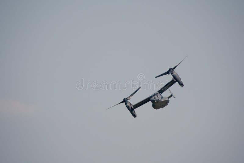 旋转翼倾斜的军用飞机 库存照片