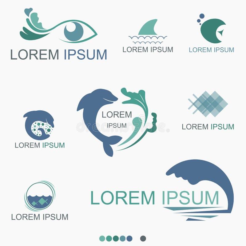 水族馆海洋生物商标-传染媒介 库存例证