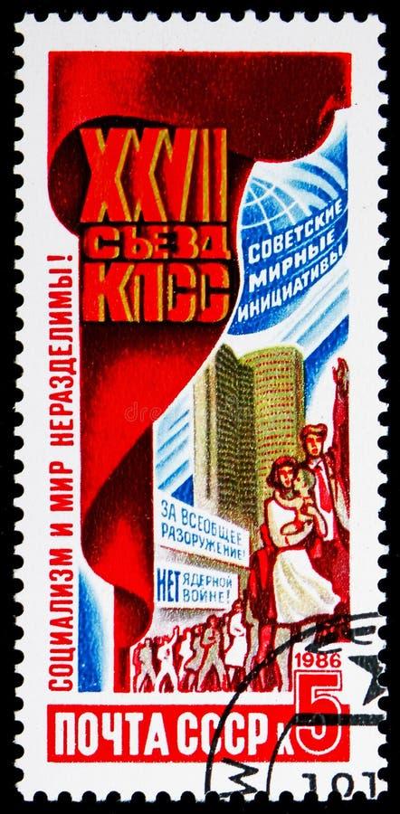 旗子、和平示范和经济互助委员会,第27共产党国会serie的决议,大约1986年 库存照片