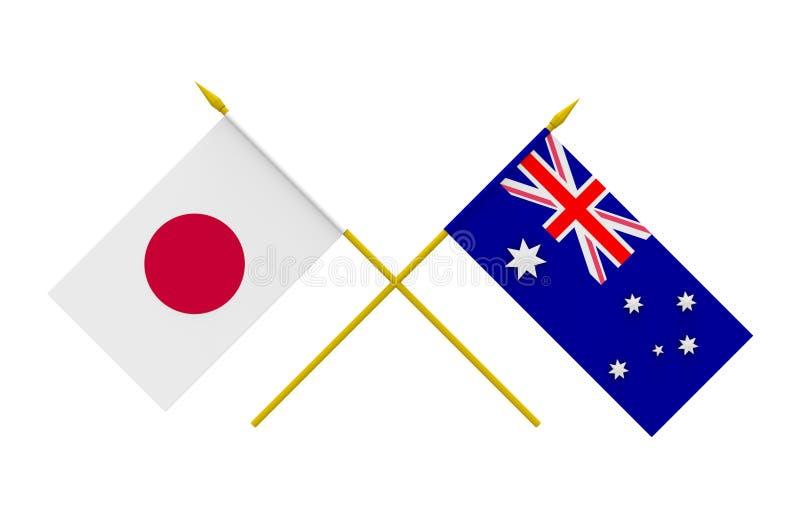 旗子、澳大利亚和日本 皇族释放例证