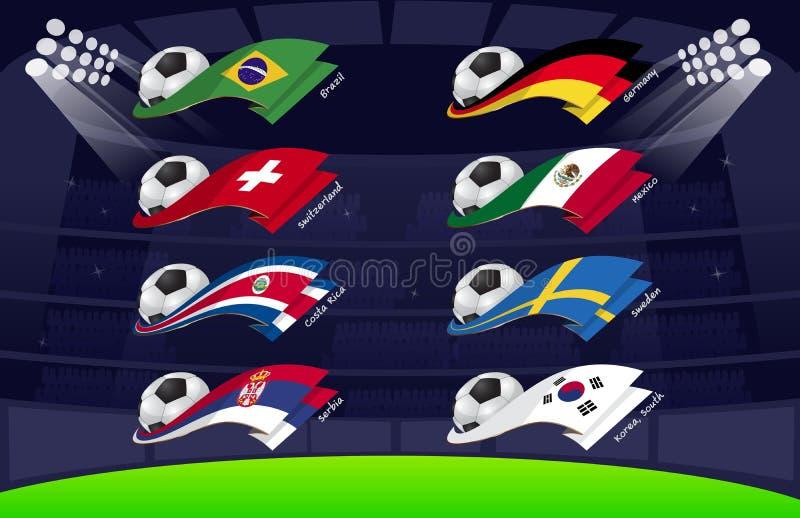 旗子世界足球2018个Vol3 皇族释放例证