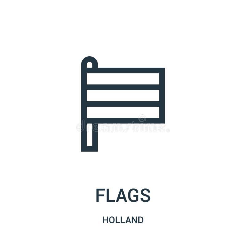 旗子从荷兰汇集的象传染媒介 稀薄的线旗子概述象传染媒介例证 线性标志为在网的使用和 向量例证
