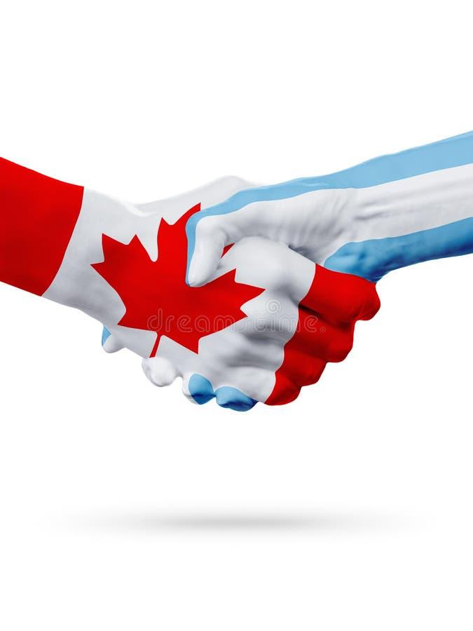 旗子加拿大,阿根廷国家,合作友谊握手概念 库存例证