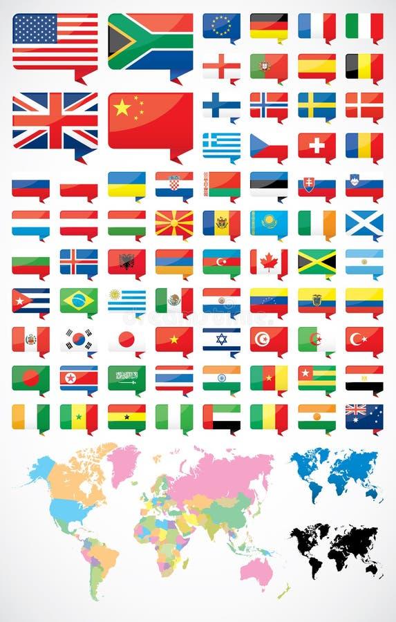 旗子和世界地图 库存例证